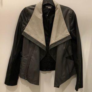 NWOT Black grey leather jacket by Vince M